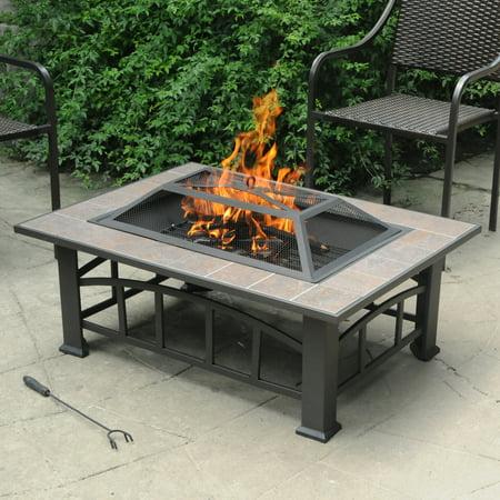 "Axxonn Rectangular Tile Top Fire Pit, Brownish Bronze (37"" x 28"") wood burning Fire Bowl"