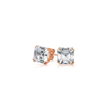 Cubic Zirconia Solitaire AAA CZ Asscher Cut Stud Earrings For Women Rose Gold Plated 925 Sterling Silver More Sizes ()