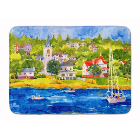 Harbour Scene with Sailboat Machine Washable Memory Foam Mat
