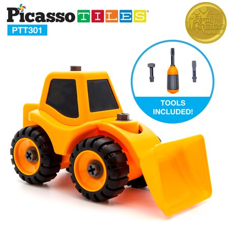 PicassoTiles Educational Constructible DIY Take-A-Part Front Loader Truck Set