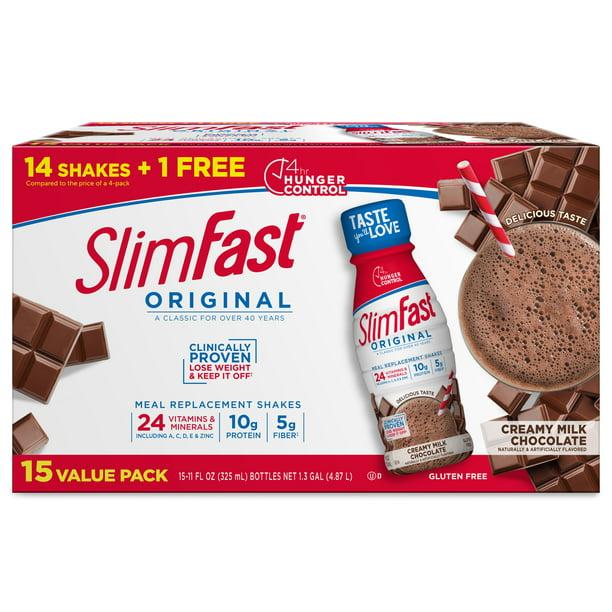 SlimFast Original Meal Replacement Shakes, Creamy Milk Chocolate, 11 fl oz, 15 Ct