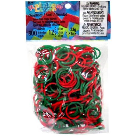 Rainbow Loom Green & Red Tie Die Christmas Rubber Bands Refill Pack [300 ct] ()