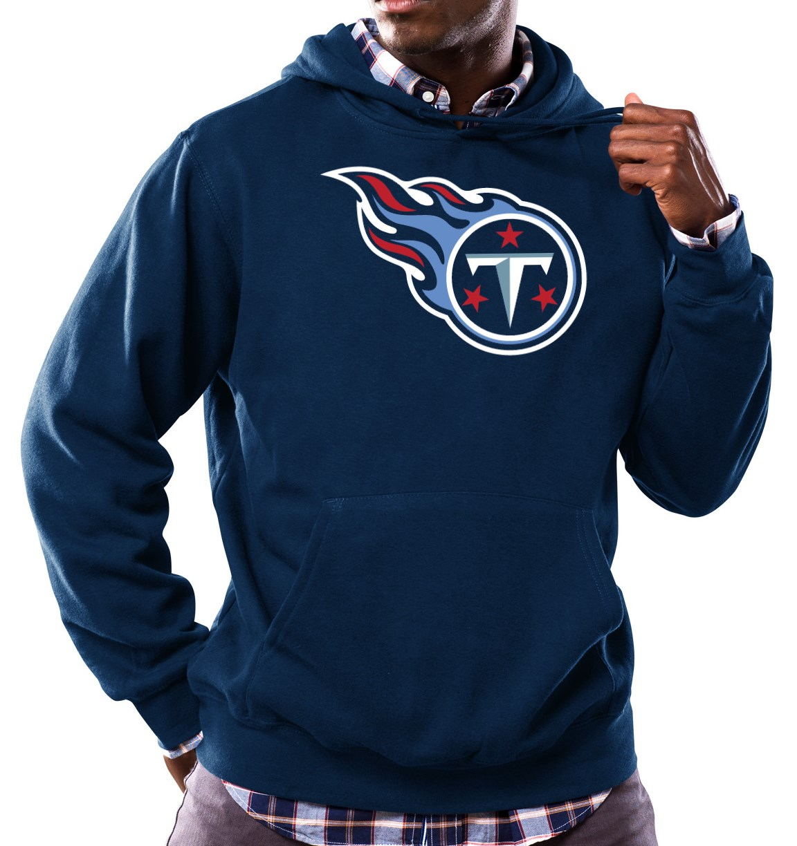 "Tennessee Titans Majestic NFL ""Tek Patch"" Hooded Sweatshirt - Navy"