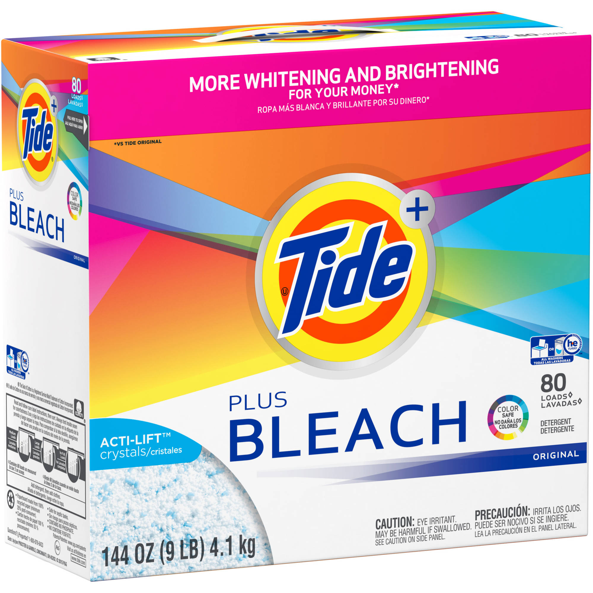 Tide Ultra Plus Bleach Original Scent Powder Laundry Detergent, 144 oz