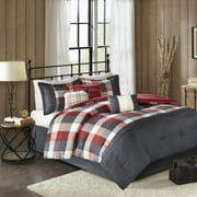 Home Essence Warren 7 Piece Herringbone Comforter Bedding Set with Bedskirt and Decorative Pillows