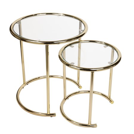 Danya B. Nested Round End /Side Tables for Small Spaces - Gold with Clear Glass (Set of 2)