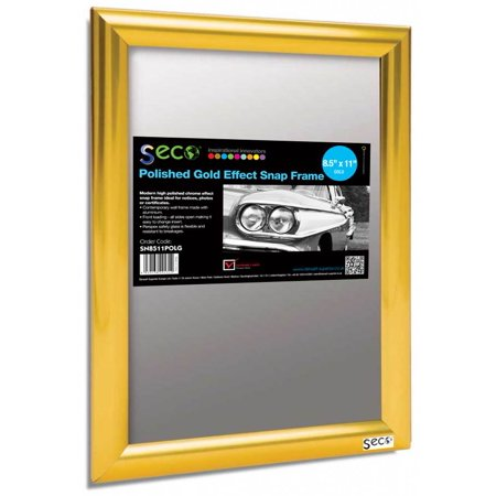 Stewart Superior SECO Front Load Easy Open Snap Poster/Picture Frame 8.5 x 11 Inches, Polished Gold Effect Frame (SN8511POLG)