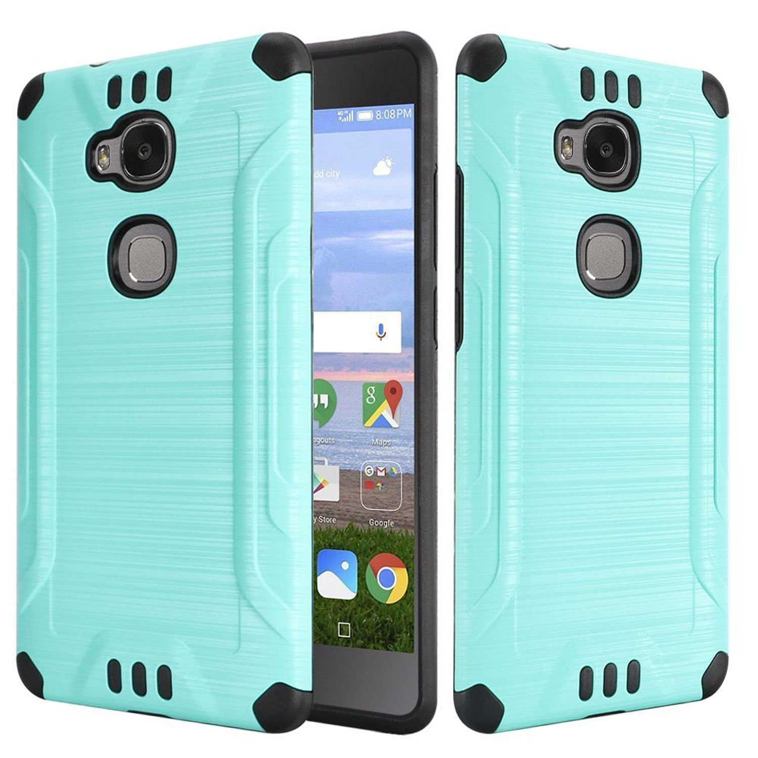 Huawei Sensa LTE Case, by HR Wireless Dual Layer Hybrid Rubberized Hard Plastic/Soft Silicone Case Cover For Huawei Sensa LTE, Teal/Black