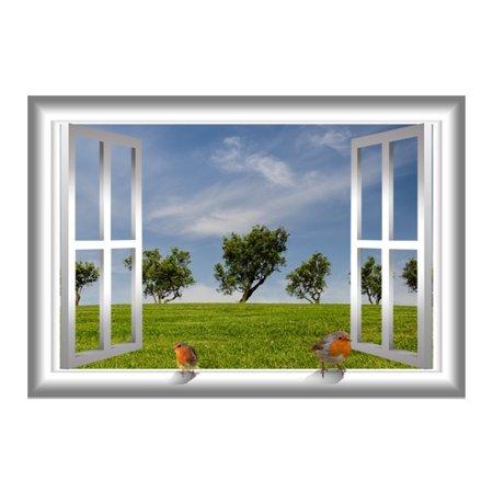 VWAQ 3D Bird Wall Decor Window Meadow Wall Decal Grassy Field Peel And Stick Mural VWAQ-AN3 (24