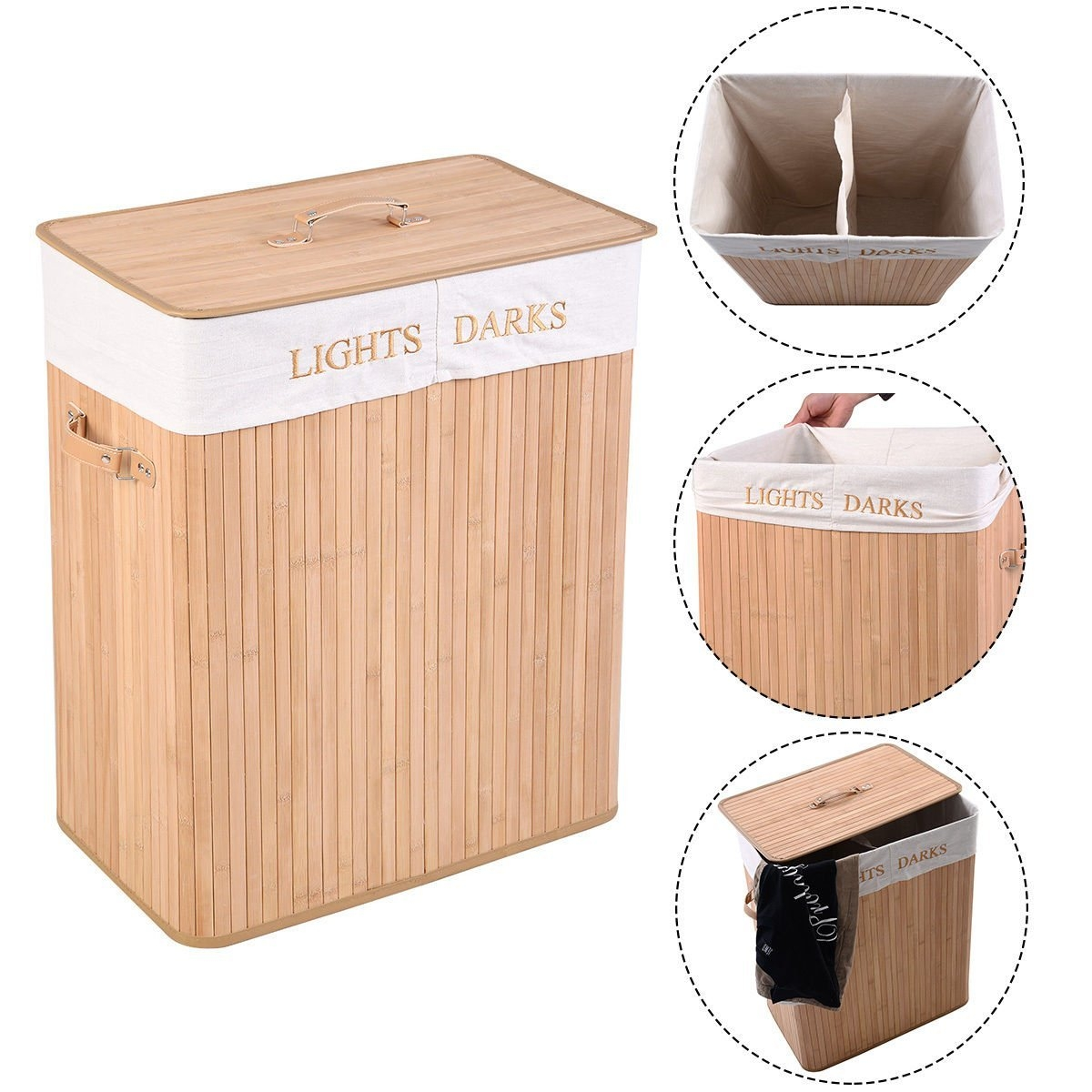 New MTN-G Double Rectangle Bamboo Hamper Laundry Basket Cloth Storage Bag Lid-Brown