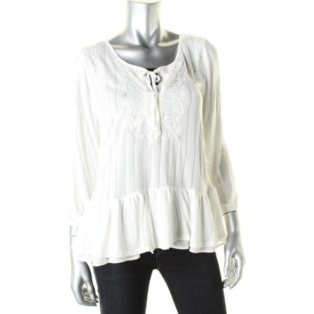Vintage America Womens Lace Trim Tiered Peasant Top for $<!---->