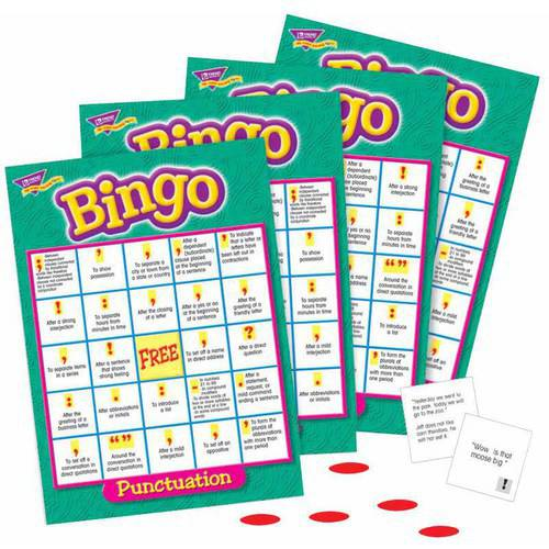 "Trend Punctuation Bingo Game, 5"" x 5"" Cards, Set of 36 Cards, 700 Markers, Caller Card, Box"