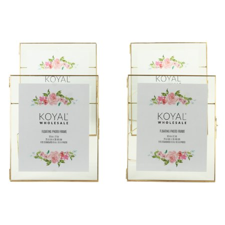 Wholesale Photo Frames (Koyal Wholesale Gold Pressed Glass Floating Photo Frames 10 x 12 Inch,  4−Pack with Stands, Horizontal /)
