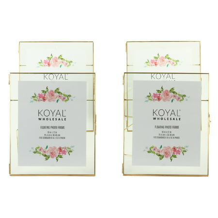 Koyal Wholesale Gold Pressed Glass Floating Photo Frames 10 x 12 Inch,  4−Pack with Stands, Horizontal / Vertical
