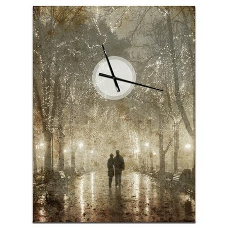 DesignArt Couple Walking in Night Lights Large Wall Clock - image 2 de 2