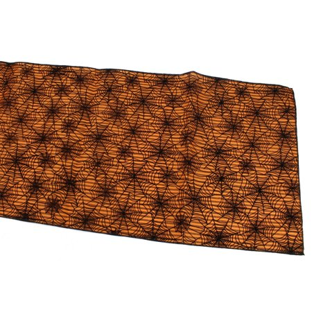 Halloween Spider Web Table Runner, Orange, 14-Inch, 6-Feet