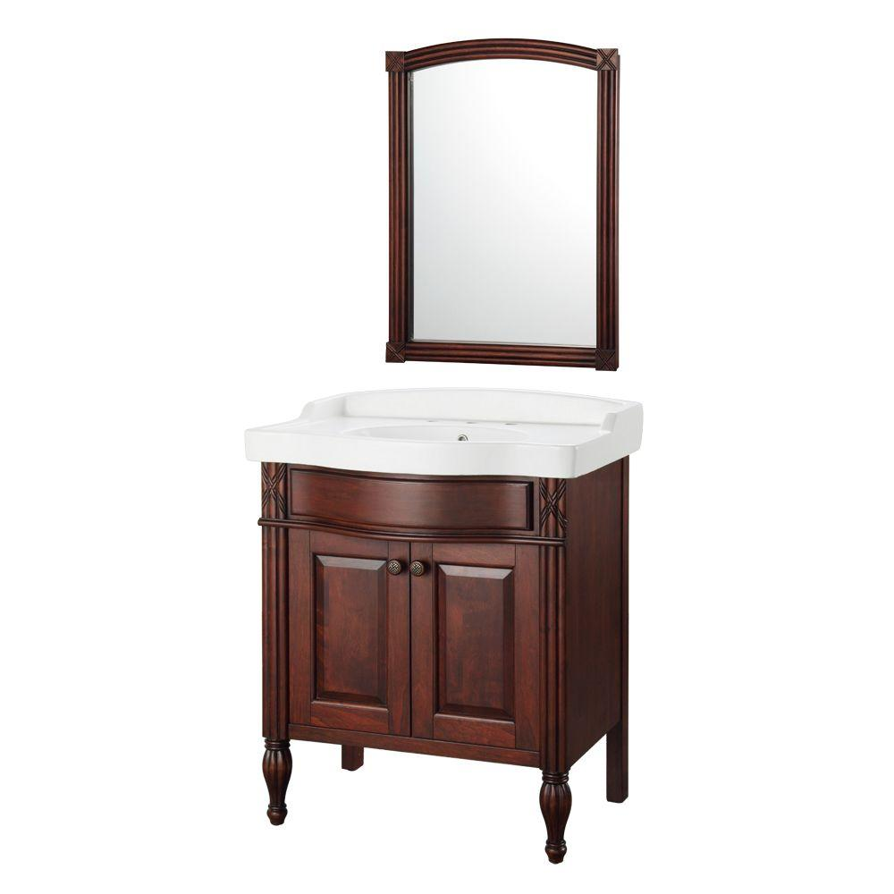 """Foremost ODNAT3121 Odienne 32"""" Vanity in Walnut w/ Vitreous China Vanity Top in White and Mirror"""