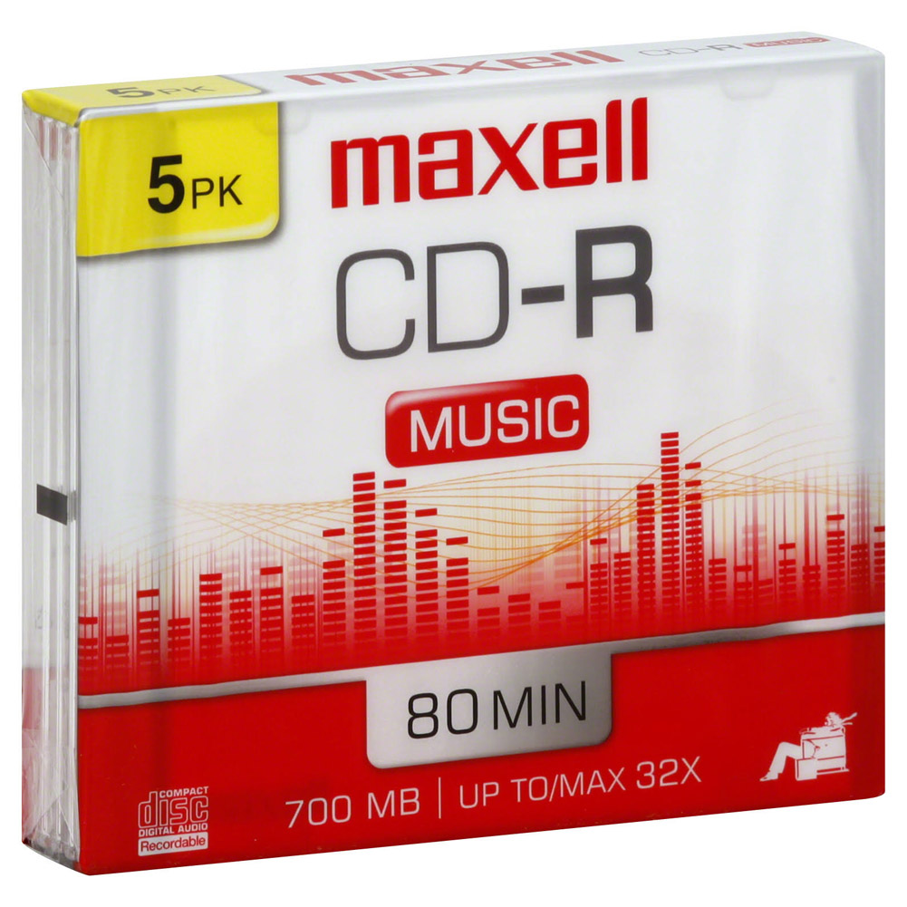 Maxell Music CD-R Media - 700MB - 120mm Standard - 5 Pack