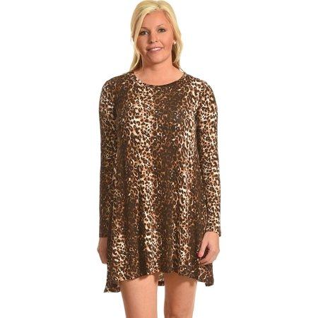 Derek Heart Womens Rivas Long Sleeve Leopard Swing Dress   B4jd031 Blk