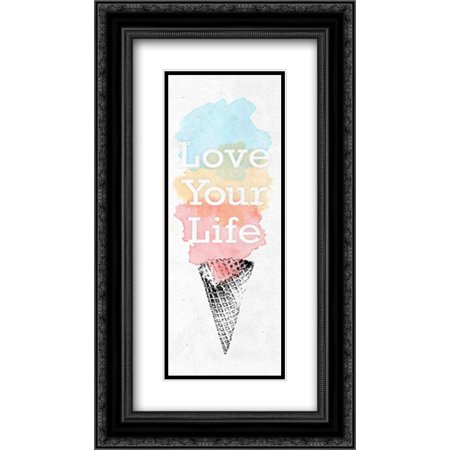 Cone Matte - Watercolor Cone II 2x Matted 14x24 Black Ornate Framed Art Print by SD Graphics Studio