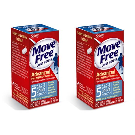 - (2 pack) Move Free Advanced Plus MSM and Vitamin D3, 80 count - Joint Health Supplement with Glucosamine and Chondroitin