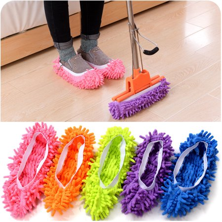 2 Pcs Multifunctional Chenille Footwear Mop House Clean Shoe Slip-on Cleaning Slippers - Pcs Chenille