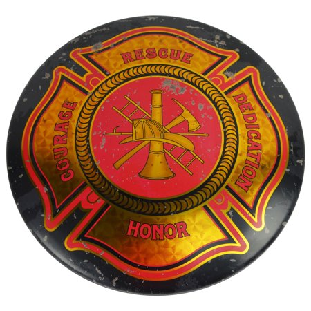 Firefighter Plaque (Fire Dept Maltese Cross Firefighter Tin Button Sign Firemens Bar/Pub Wall Decor)