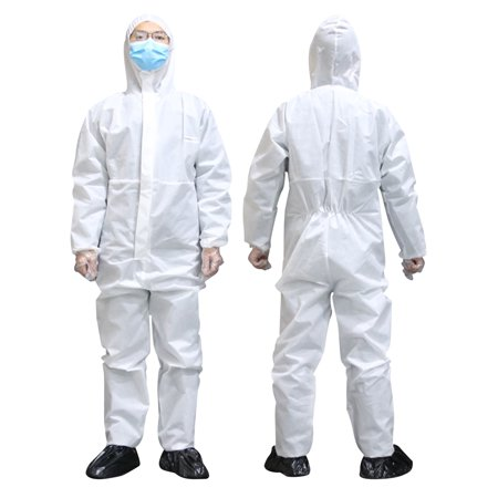 Disposable Coveralls White Hood Painting Decorating Elastic Waist Protective Suit Overalls Polypropylene Disposable Coveralls