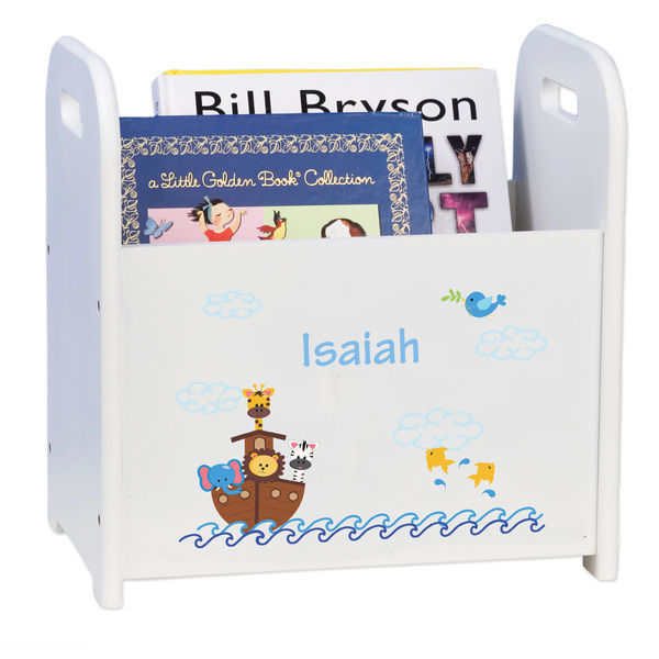 Personalized Noahs Ark White Book Caddy and Rack