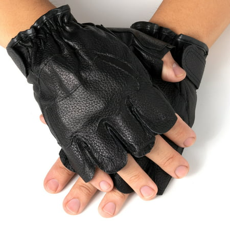 Street Riding Gloves - Alpine Swiss Men's Fingerless Gloves Genuine Leather for Workout Training Riding