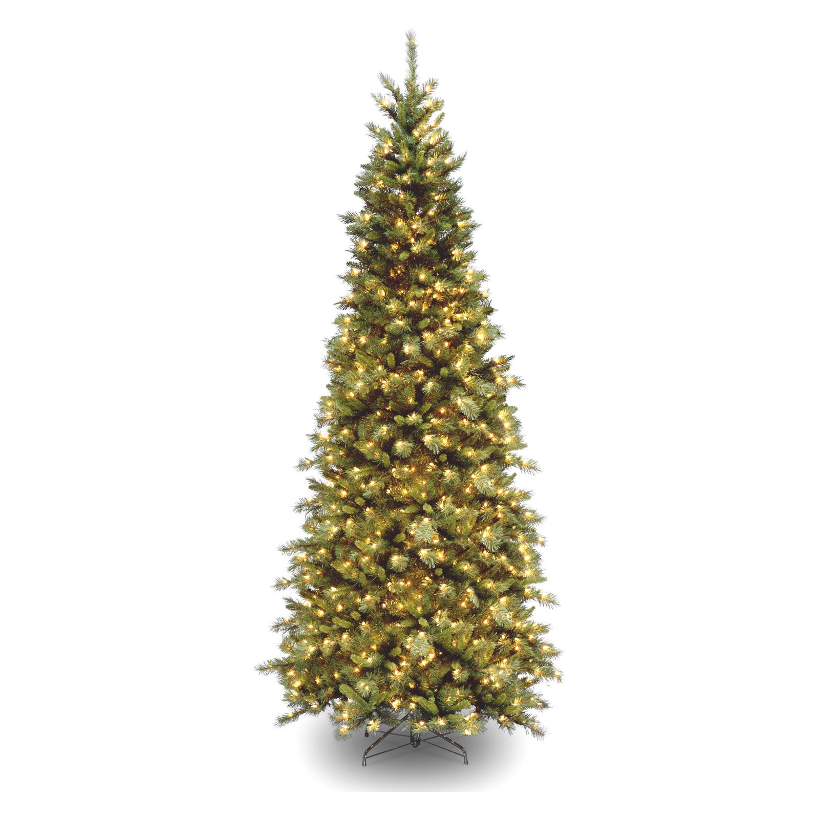 National Tree Pre-Lit 7-1/2' Tiffany Slim Fir Hinged Artificial Christmas Tree with 550 Clear Lights-UL