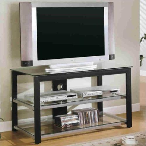 "Coaster Contemporary Metal and Glass 42"" Media Console in Black and Silver"