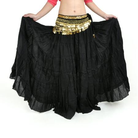 Gypsy Maxi - BellyLady Womens Belly Dance 8 Yard Skirt Vogue Bohemia Skirt Gypsy Maxi Skirt-Black