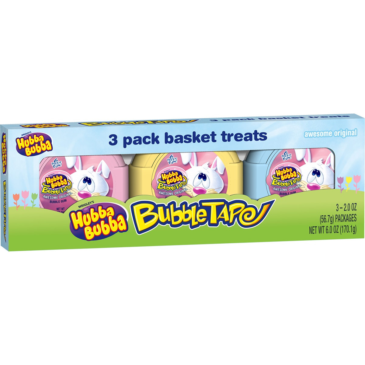 Hubba Bubba Original Bubble Easter Gum Tape, 2 ounce rolls, 3 total rolls
