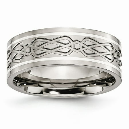 Titanium Sterling Silver Inlay Celtic Knot Flat 8mm Polished Wedding Band - Size 10 - Wedding Knot