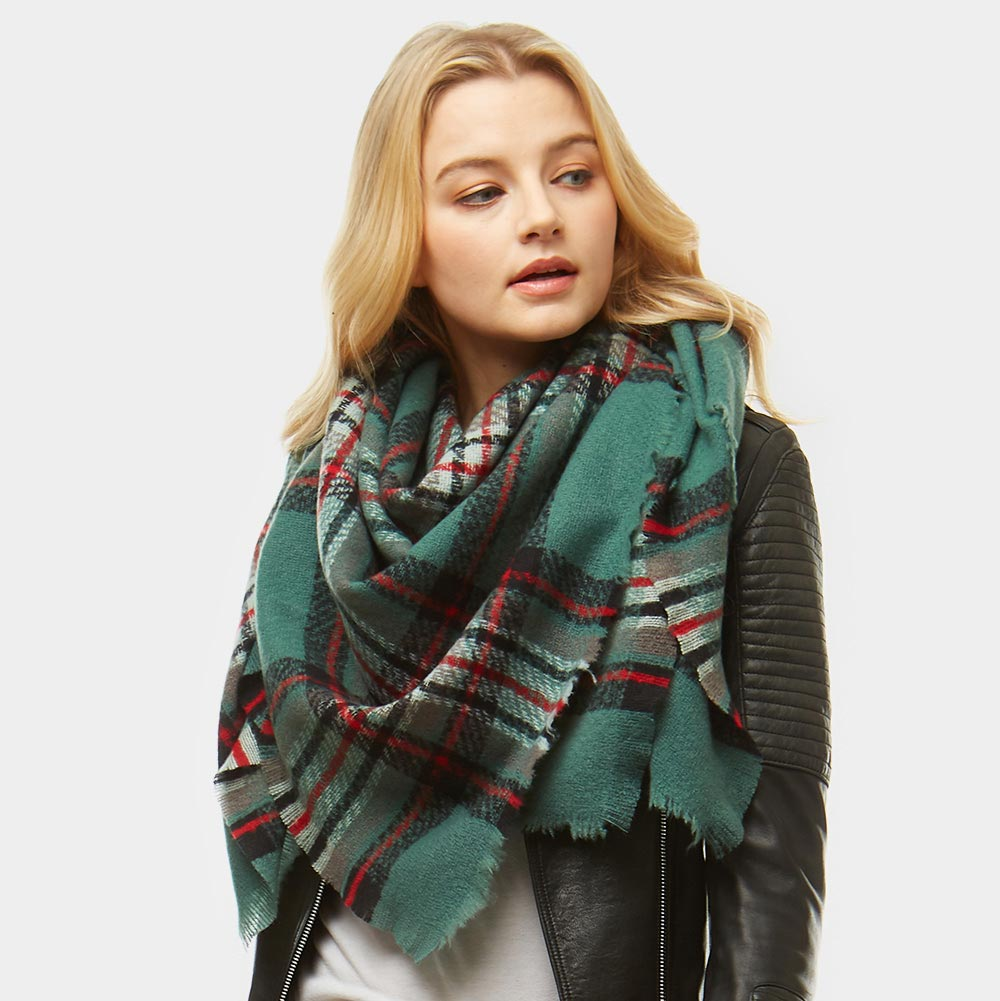 New Women Green Winter Infinity Blanket Oversized Shawl Plaid Check Tartan Scarf