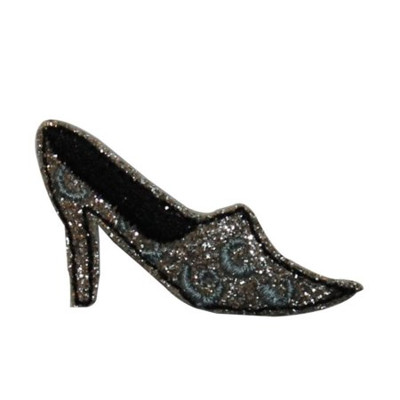ID 7415 Glitter High Heel Patch Fashion Shoe Slip Embroidered Iron On Applique