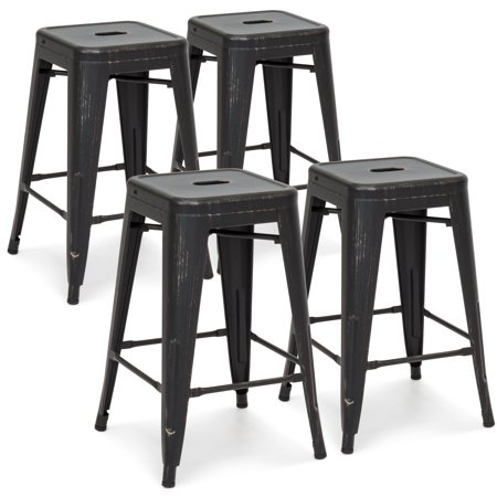 - Best Choice Products 24in Set of 4 Stackable Modern Industrial Metal Counter Height Bar Stools - Bronzed Black
