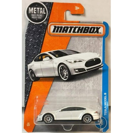 2017 MBX Adventure City Tesla Model S 26/125, White, 1:64 scaled die-cast car. By Matchbox From USA
