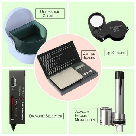 Jewelry Tool Set Digital Scales / LED Audio Diamond Gemstone Tester Selector / Ultrasonic Cleaner / LED Jeweler Loupe Magnifier 40X / 100X Jewelry Pocket Microscope Loupe