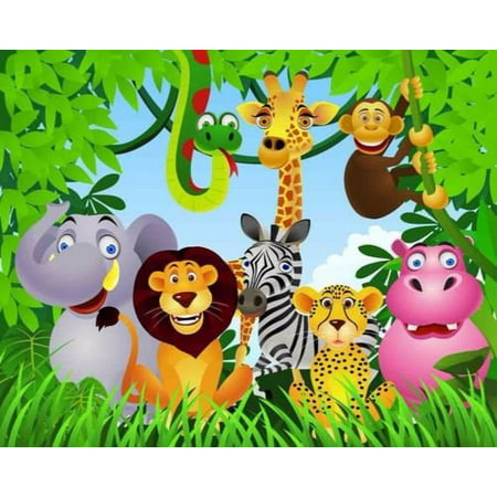 Jungle Safari Animals Cake Topper Edible Frosting Image 1/4 Sheet