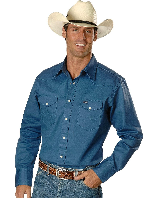 Wrangler Mens Western Work Shirt Firm Finish