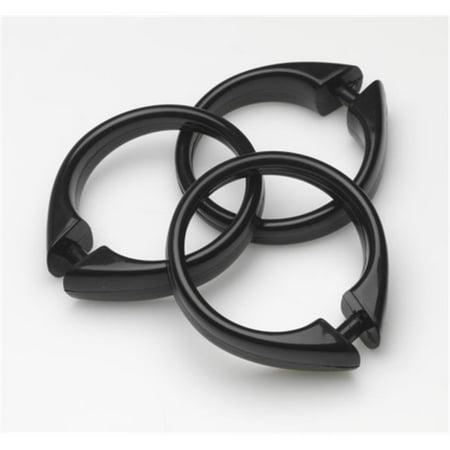 USCRD-16 Black Plastic Shower Curtain Hooks, Set Of 12