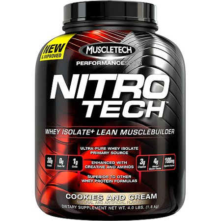 Nitro Tech Ingredients - MuscleTech Performance Series Nitro Tech Lean Musclebuilder Active Sports Nutrition Dietary Supplement, Cookies and Cream, 4 lbs