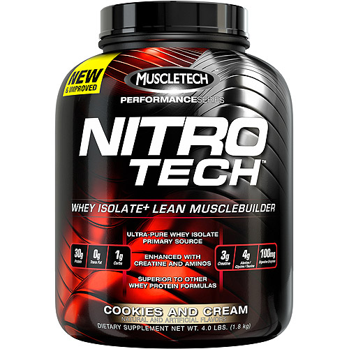 MuscleTech Performance Series Nitro Tech Lean Musclebuilder Active Sports Nutrition Dietary Supplement, Cookies and Cream, 4 lbs