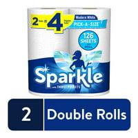 Sparkle Paper Towels, 2 Double Rolls, White, Pick-A-Size