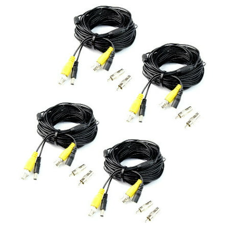 4 X 60ft BNC Video Power Siamese Cable for CCTV