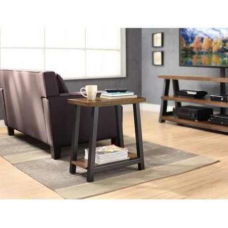 Whalen Industria Metal And Wood End Table Ash Veneer Shelves