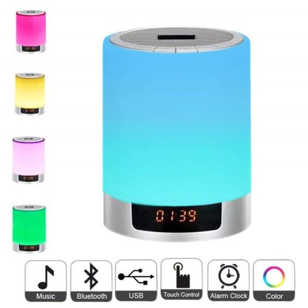 Topboutique Lamp night light speaker Bluetooth touch speaker portable alarm clock alarm hands free with 48 color 3 mode of light (Lamp Alarm Clock)