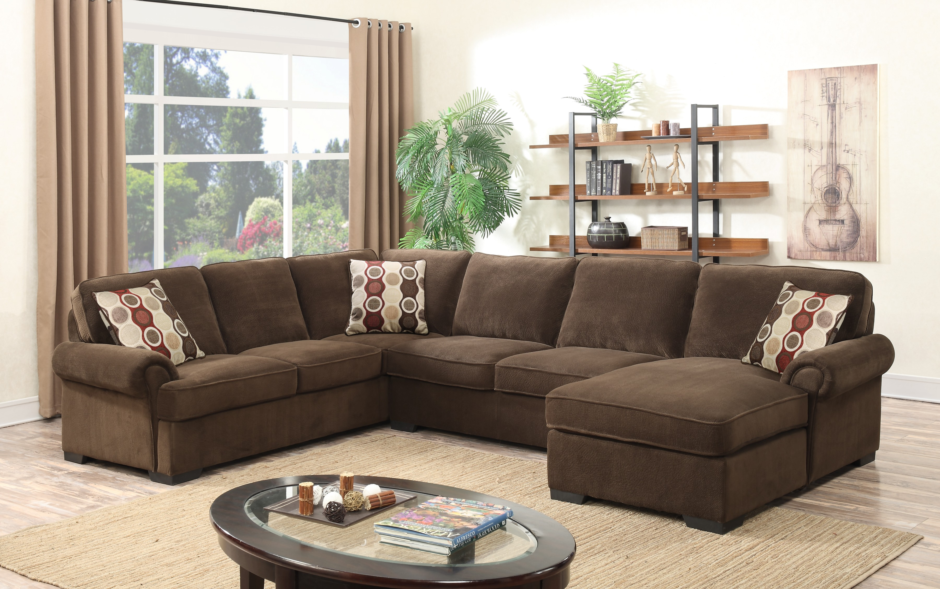 3pc Brown Sectional w  Sleeping Mattress by Best Quality Furniture